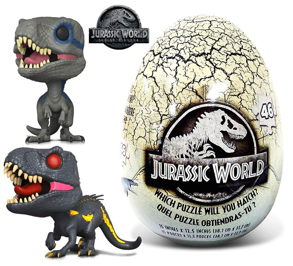 Warp Gadgets Bundle - Funko POP Movies Jurassic World 2 Blue, Indoraptor and 46 Piece Mystery Egg Puzzle (3 Items)