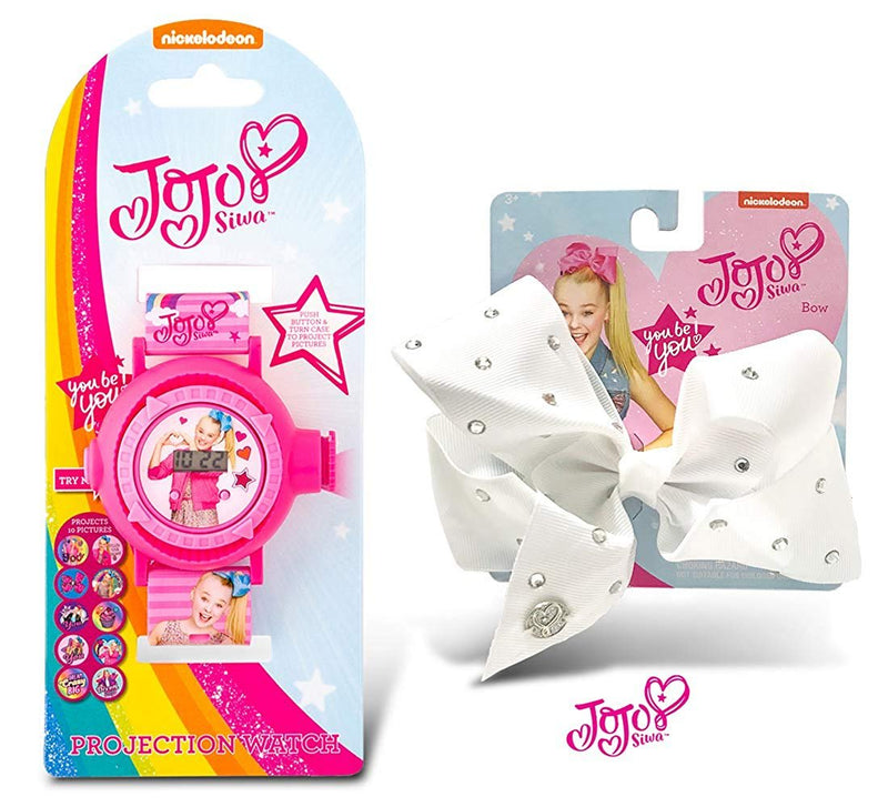 Warp Gadgets Bundle - JoJo Siwa Projection Watch on Card and White Rhinstone Bow on Metal Salon Clip (2 Items)