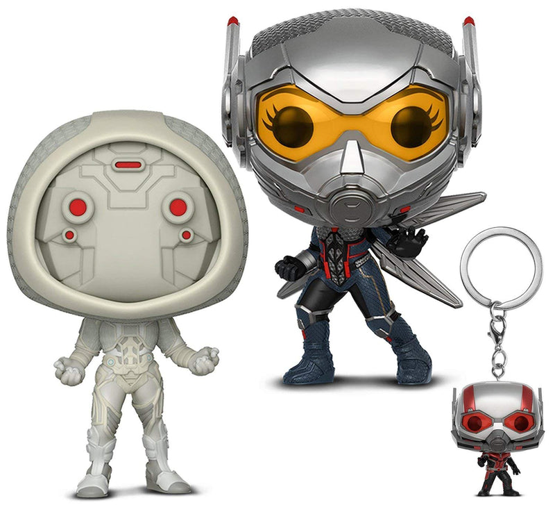 Warp Gadgets Bundle - Funko Pop Marvel: Ant-man & the Wasp: Wasp, Ghost, and Pocket Pop Keychain Ant-man (3 Items)