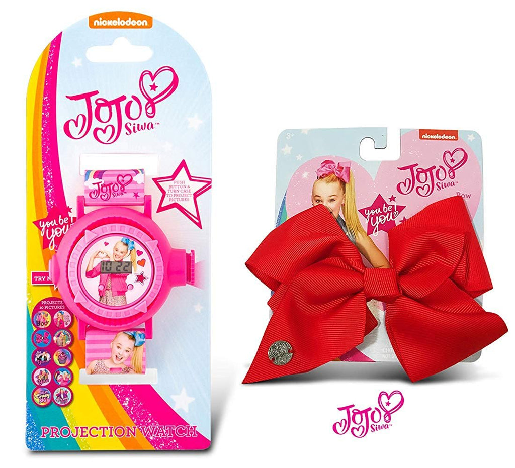 Warp Gadgets Bundle - JoJo Siwa Projection Watch on Card and Red Basic Bow on Metal Salon Clip (2 Items)