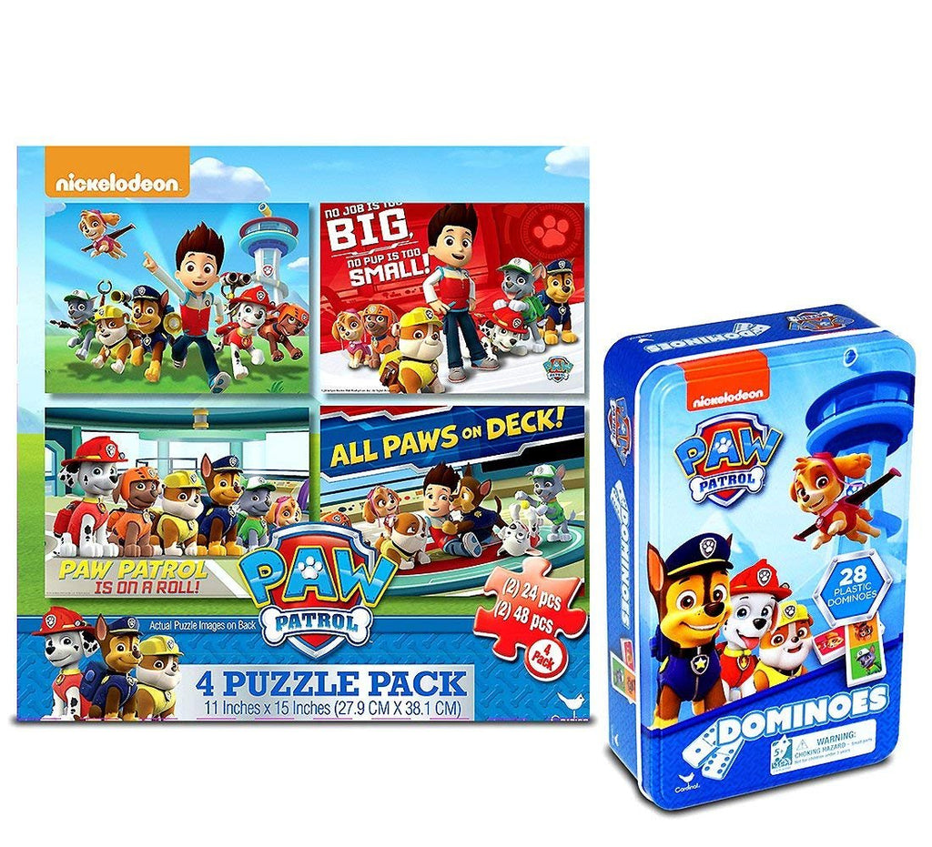 Warp Gadgets Bundle - Cardinal Industries Paw Patrol 4-Pack Puzzles And Paw Patrol Dominoes Tin (2 Items)