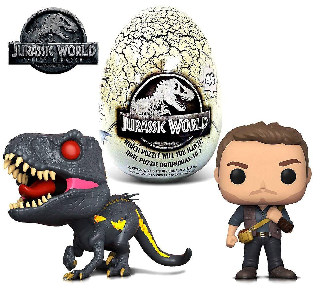 Warp Gadgets Bundle - Funko POP Movies Jurassic World 2 Owen, Indoraptor and Jurassic World 46 piece Mystery Egg Puzzle (3 Items)