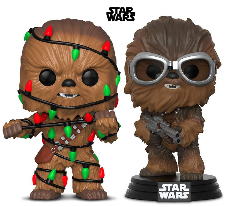 Warp Gadgets Bundle - Funko Pop! Star Wars: Holiday Chewie with Lights & Star Wars: Solo Chewbacca (2 Items)
