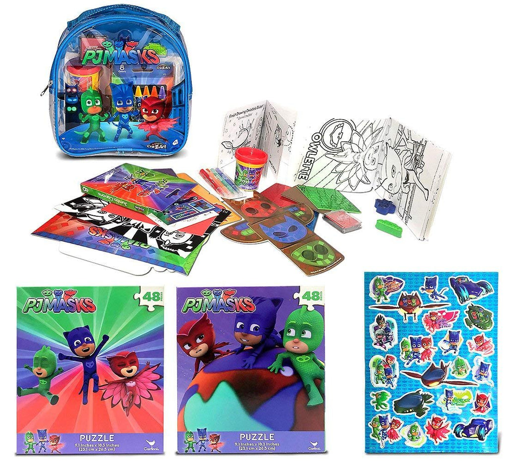 Warp Gadgets Bundle - Pj Masks Blue Activity Backpack, 2 48Pc Puzzles and Stickers (4 Items)