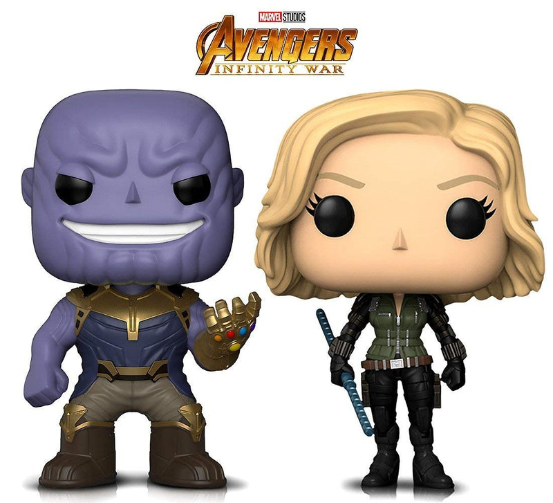 Warp Gadgets Bundle - Funko Pop! Marvel Avengers Infinity War - Thanos & Black Widow Bobbleheads (2 Items)