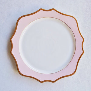 "Pink & Gold Rimmed Charger (12.75"")"