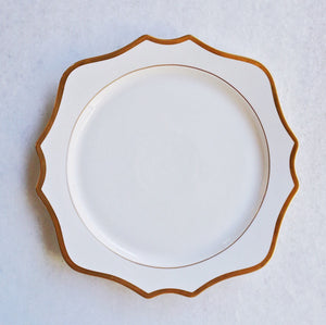 "White & Gold Rimmed Charger (12.75"")"
