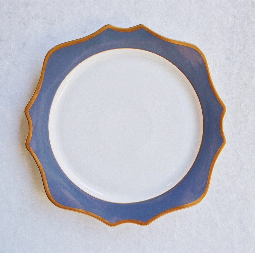 "Blue & Gold Rimmed Charger (12.75"")"