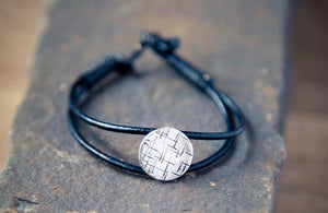 black leather bracelet, silver coin bracelet, jewellery made in ireland, urban style bracelet, layering bracelets