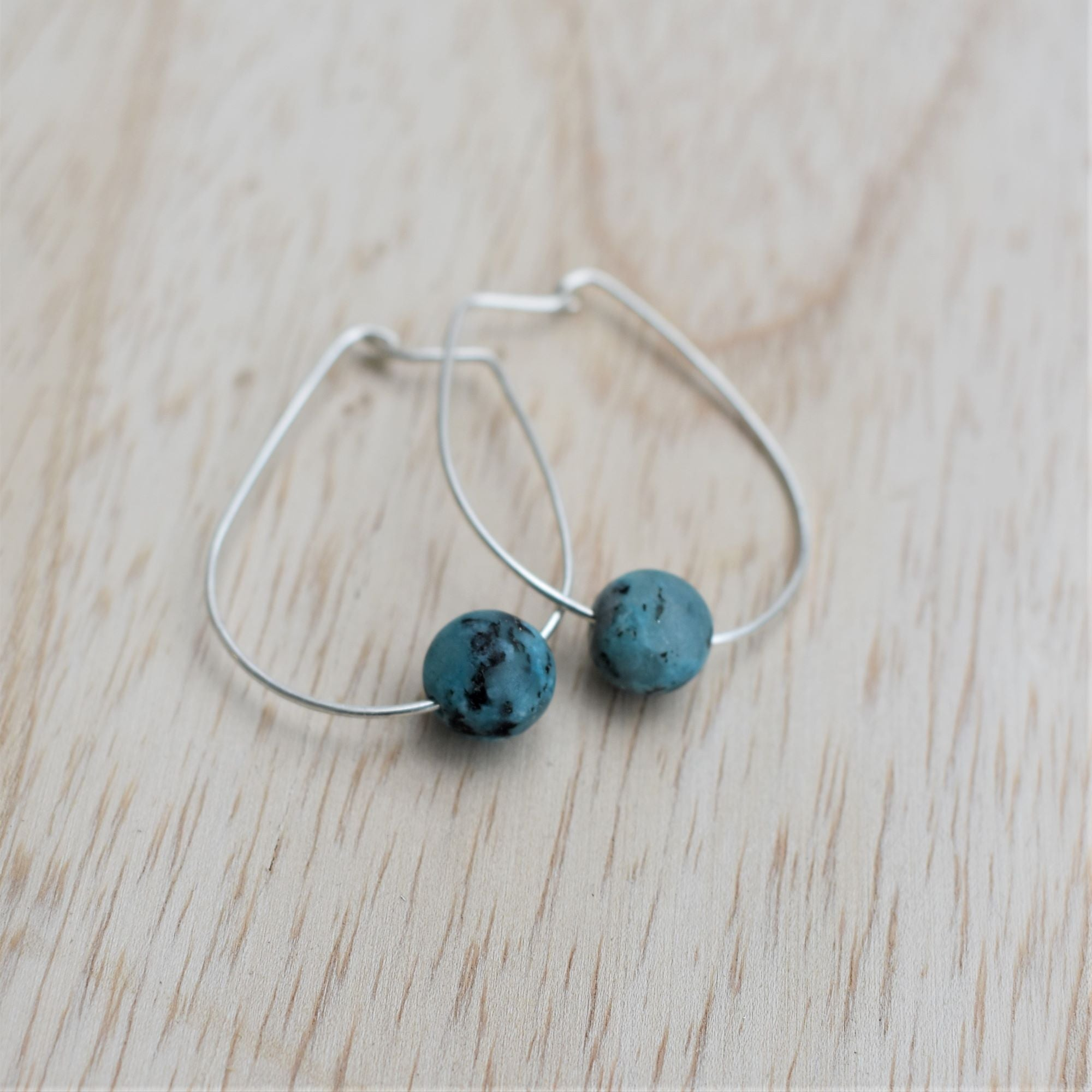 Oval Hoops with Blue Jasper Stone