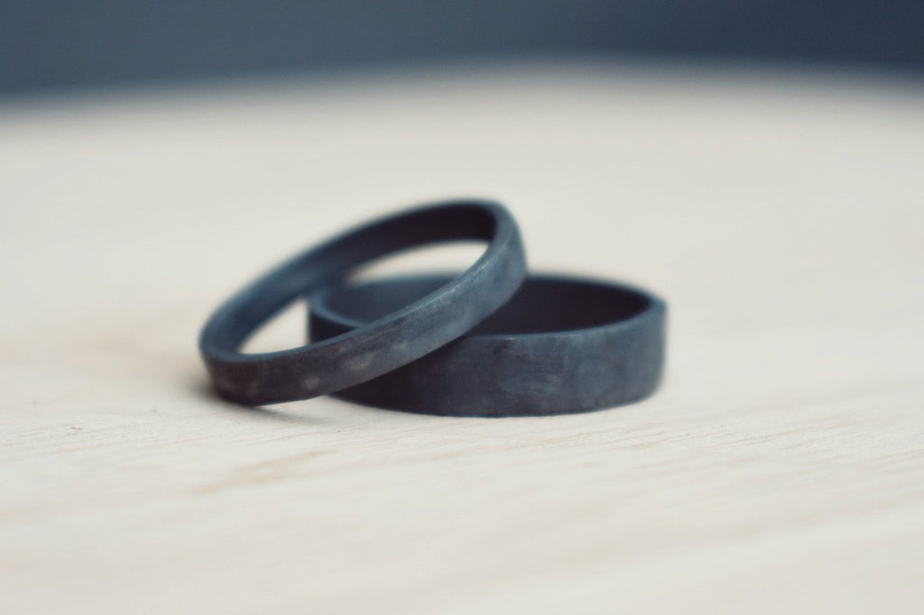 Oxidised Eco Silver Wedding Ring Set, brushed texture