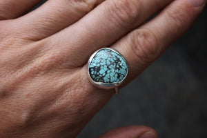 Duckegg blue Torquoise, bohemian style ring, one of a kind, made in Ireland