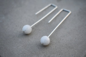 Drop moonstone earrings, simple wedding irish jewellery