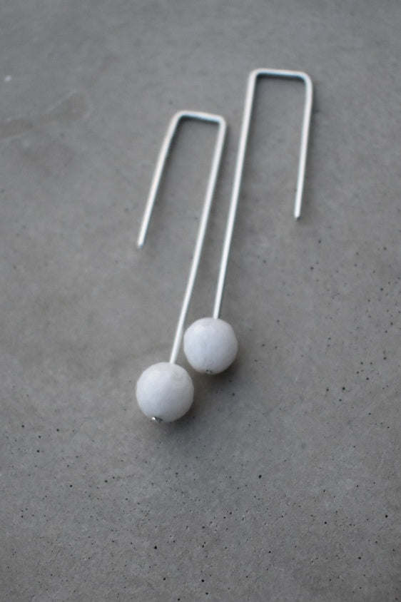 Moonstone drop earrings, simple wedding style, made in ireland