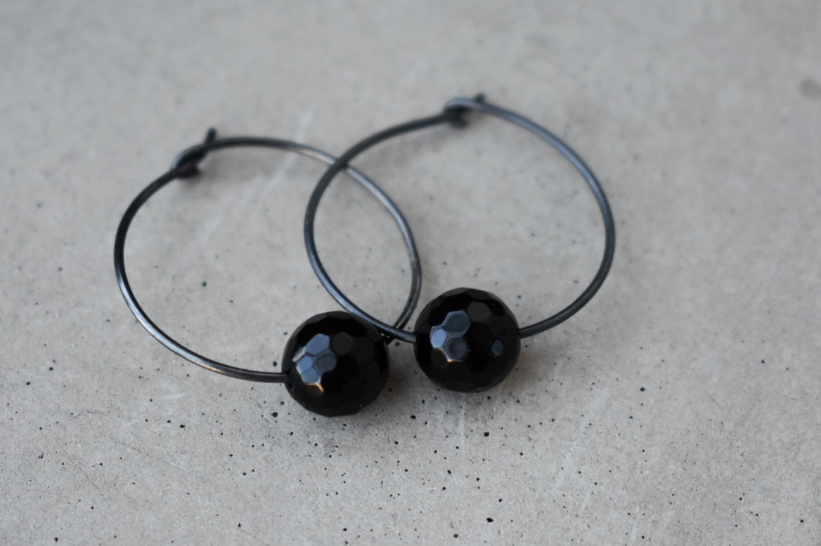 Black faceted onxy hoops, made in ireland, irish jewellery
