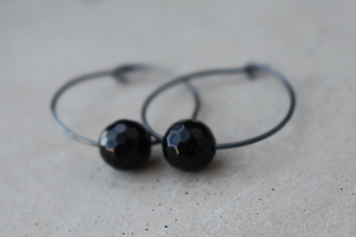 Black Faceted Onyx Hoops