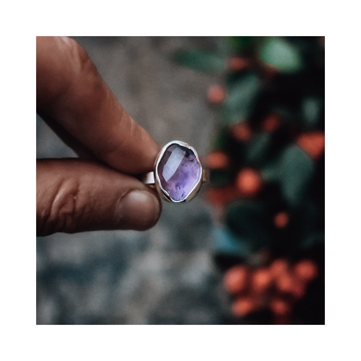 Oval Purple Amethyst and Eco Silver Ring