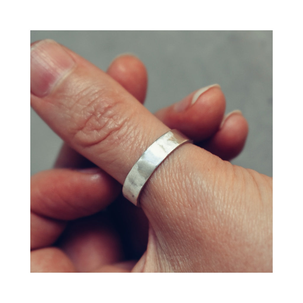 Textured brushed eco silver 5mm ring