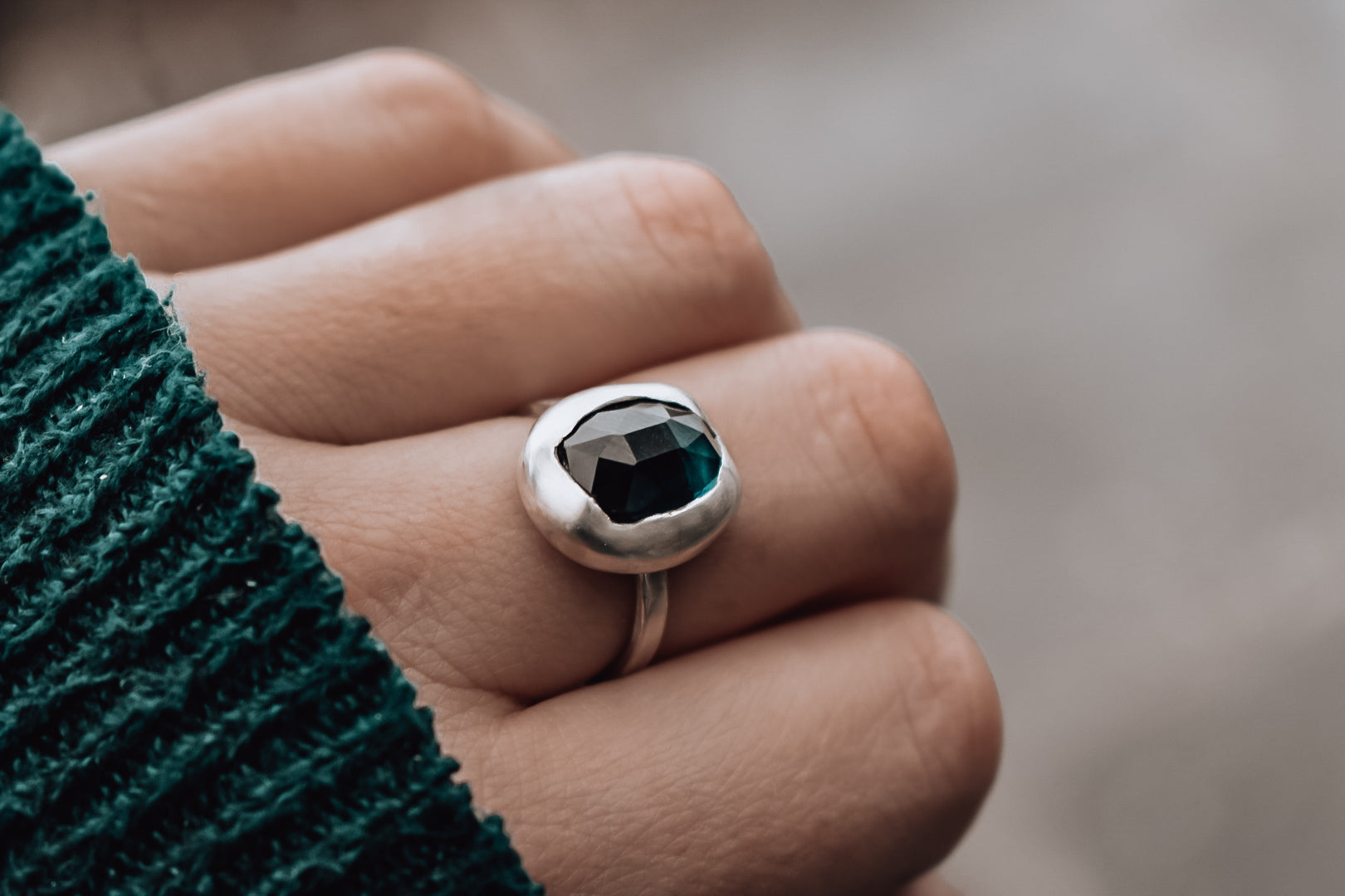 Teal Tourmaline and Eco Silver Ring