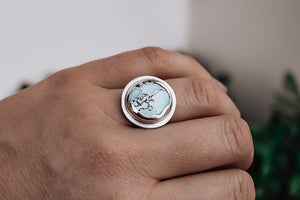 Sky Blue 'Sand Hill' Turquoise Disc Ring #2