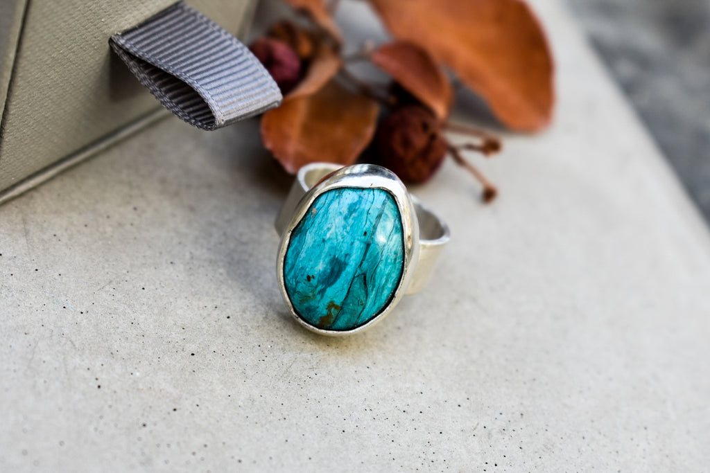Teal Opal and Eco Silver Ring
