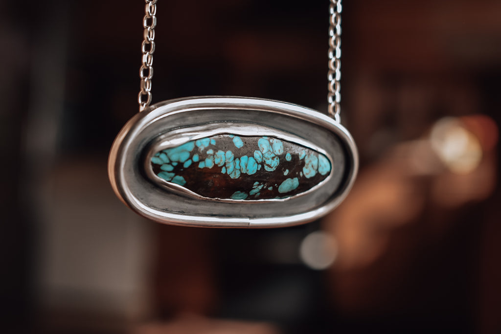 Oval Yungai Turquoise and Eco Silver Necklace