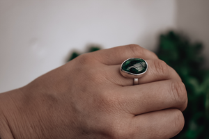 Oval 'Chrome Diopside' Ring, Size N