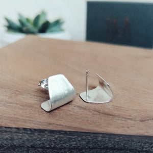 Stud Cuff Earrings Silver and Oxidised Silver