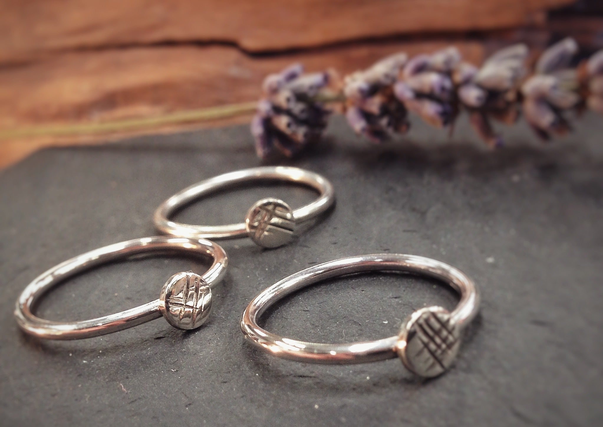 3 silver skinny rings, stackable rings