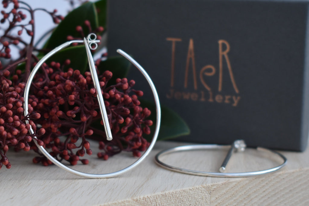 Statement hoop earrings with bar, handmade Irish hoop earrings