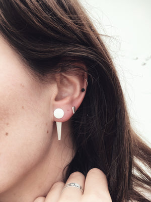 Silver Frosted Jacket Earrings