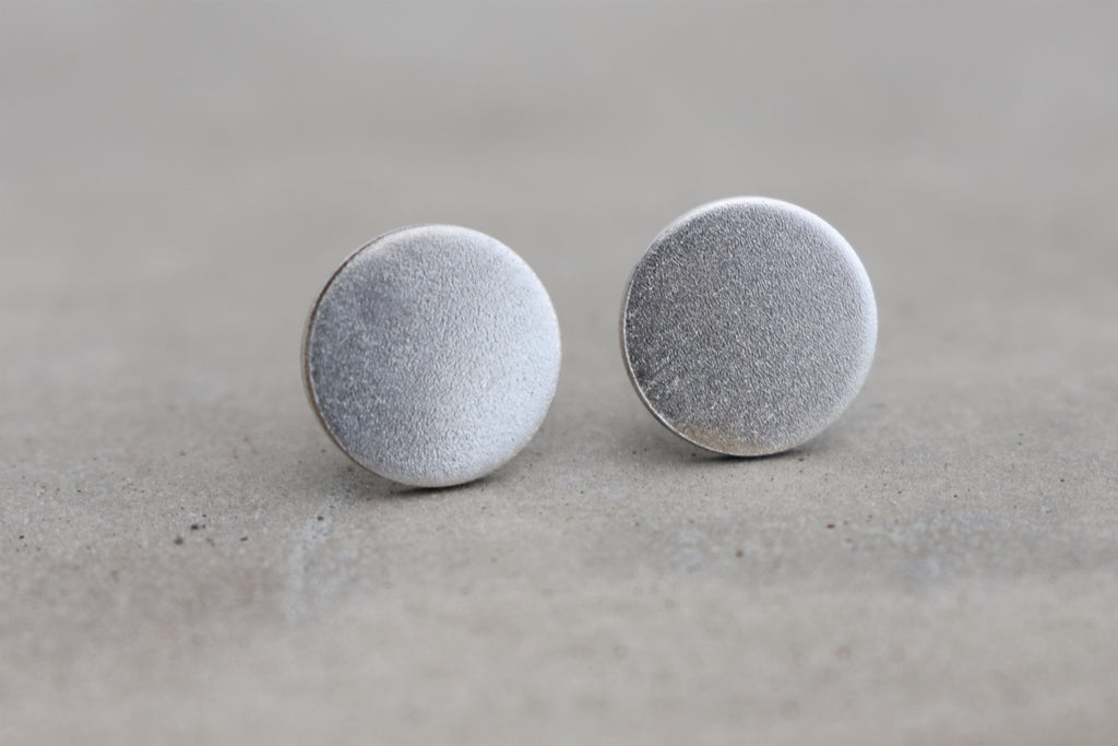 Frosted Stud Earrings in Silver