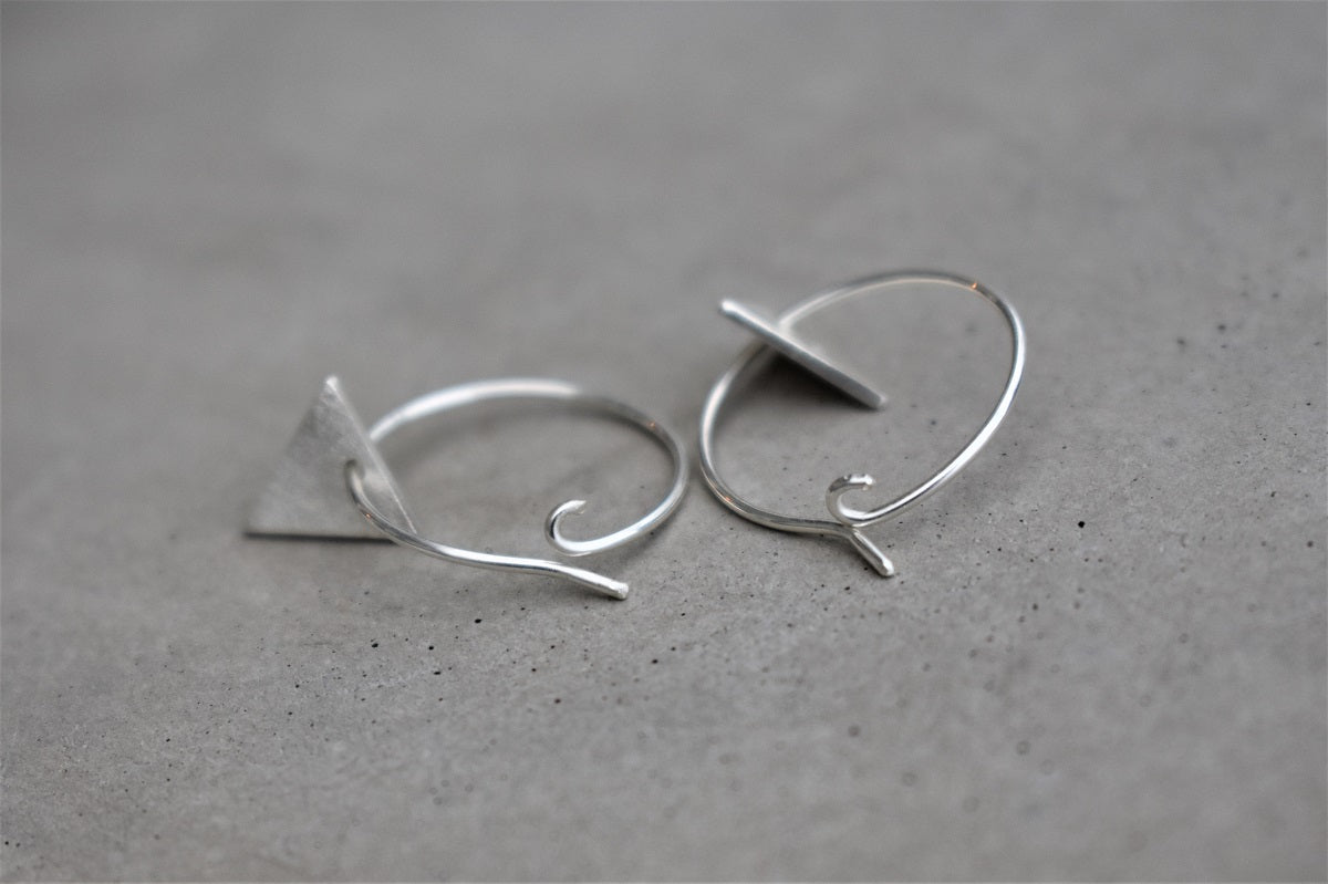 Silver Frosted Mini Triangle Hoops