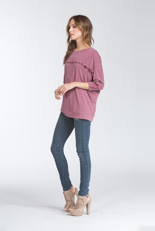 Plum Ruffle Top