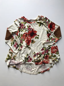Cream Floral with elbow patch