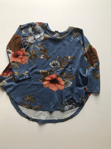Denim Floral with elbow patches