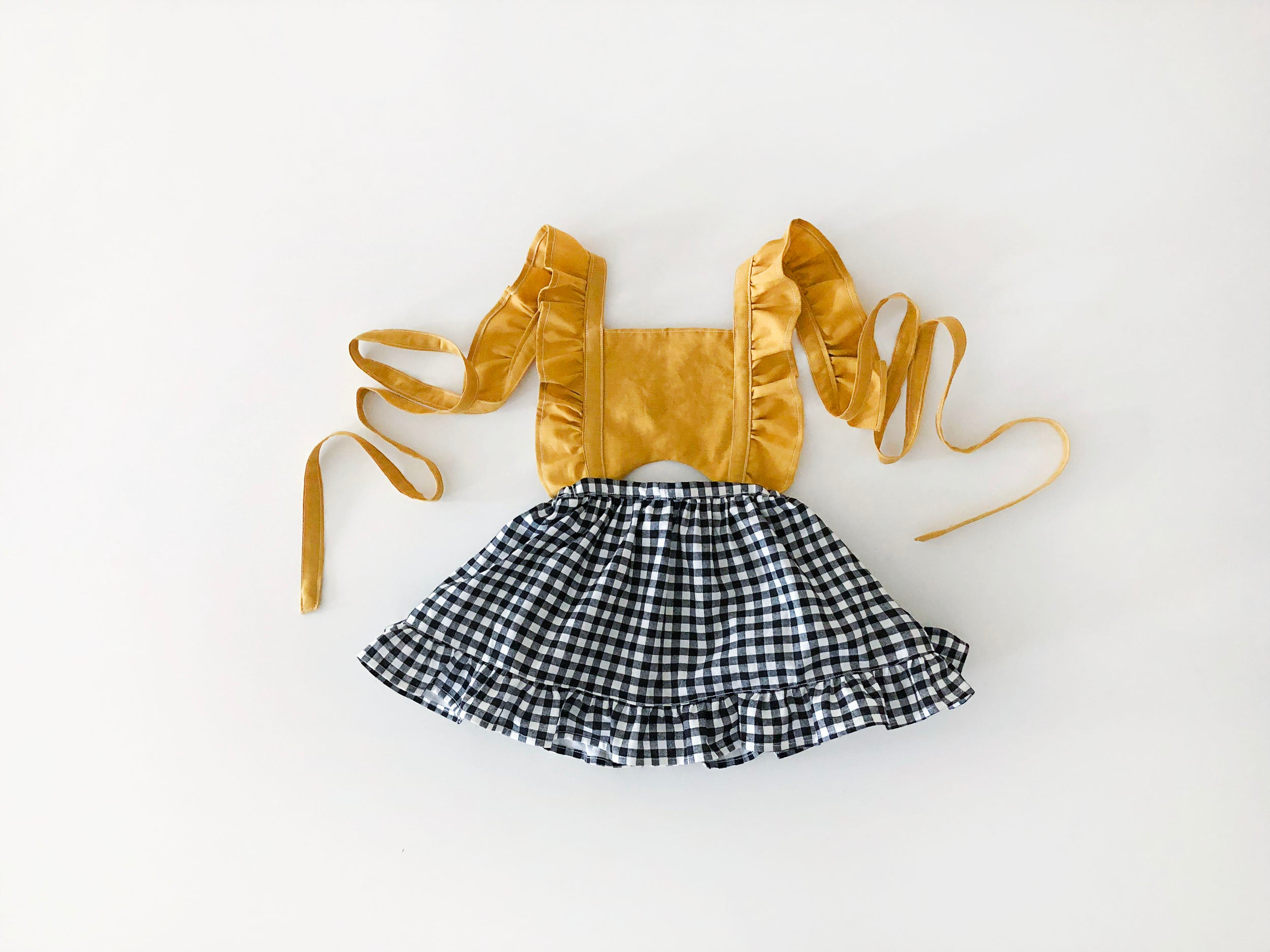 Mustard Gingham Pinafore Dress
