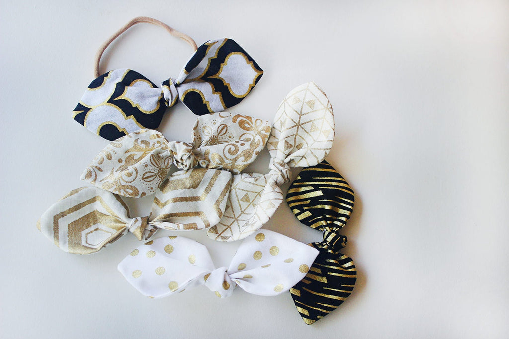 Black and Gold Bow Headband