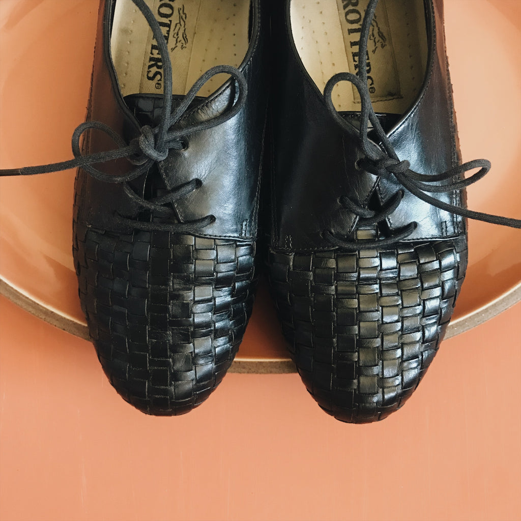 Black Leather Woven Oxfords