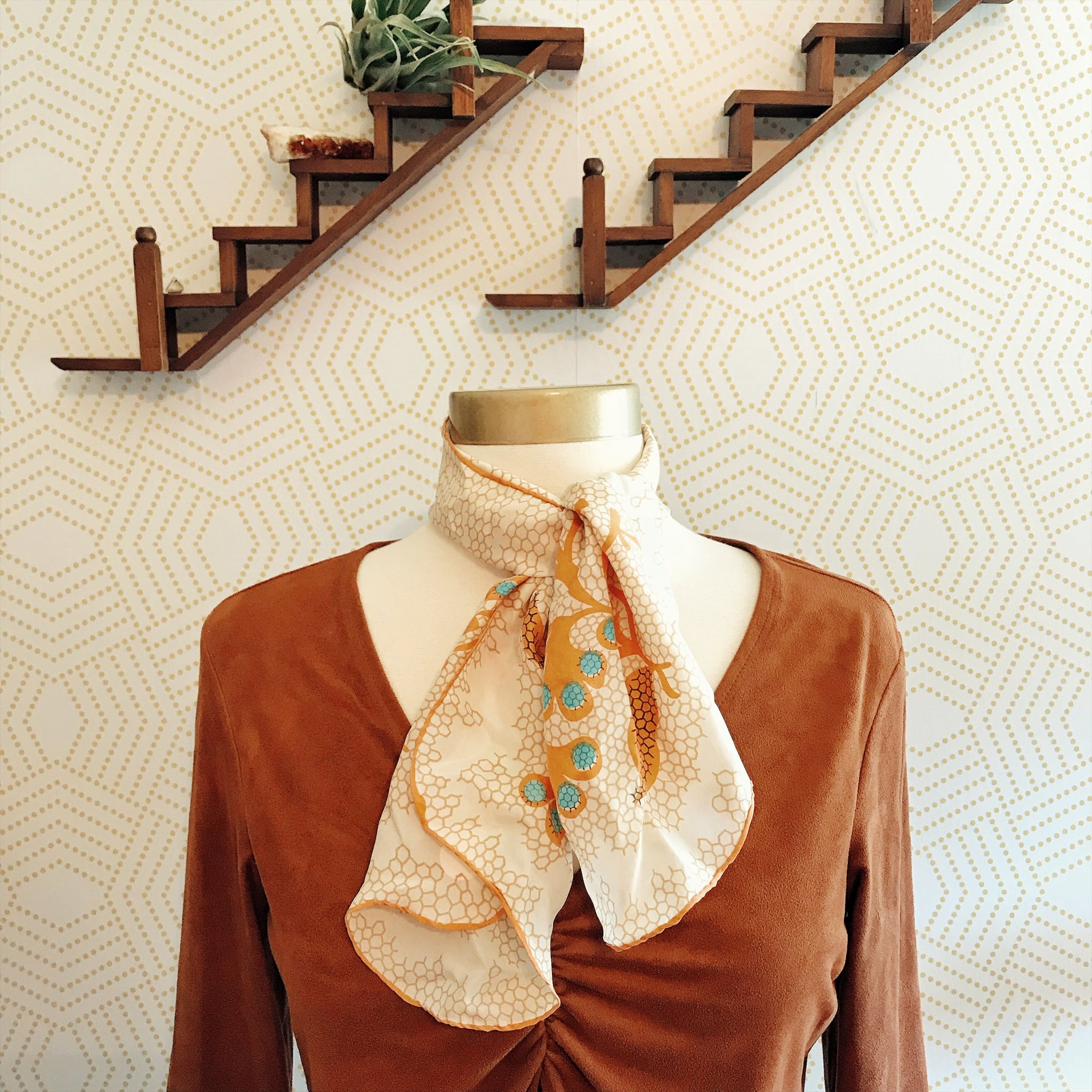 Vintage Orange and Cream Honeycomb Pattern Silk Neck Scarf