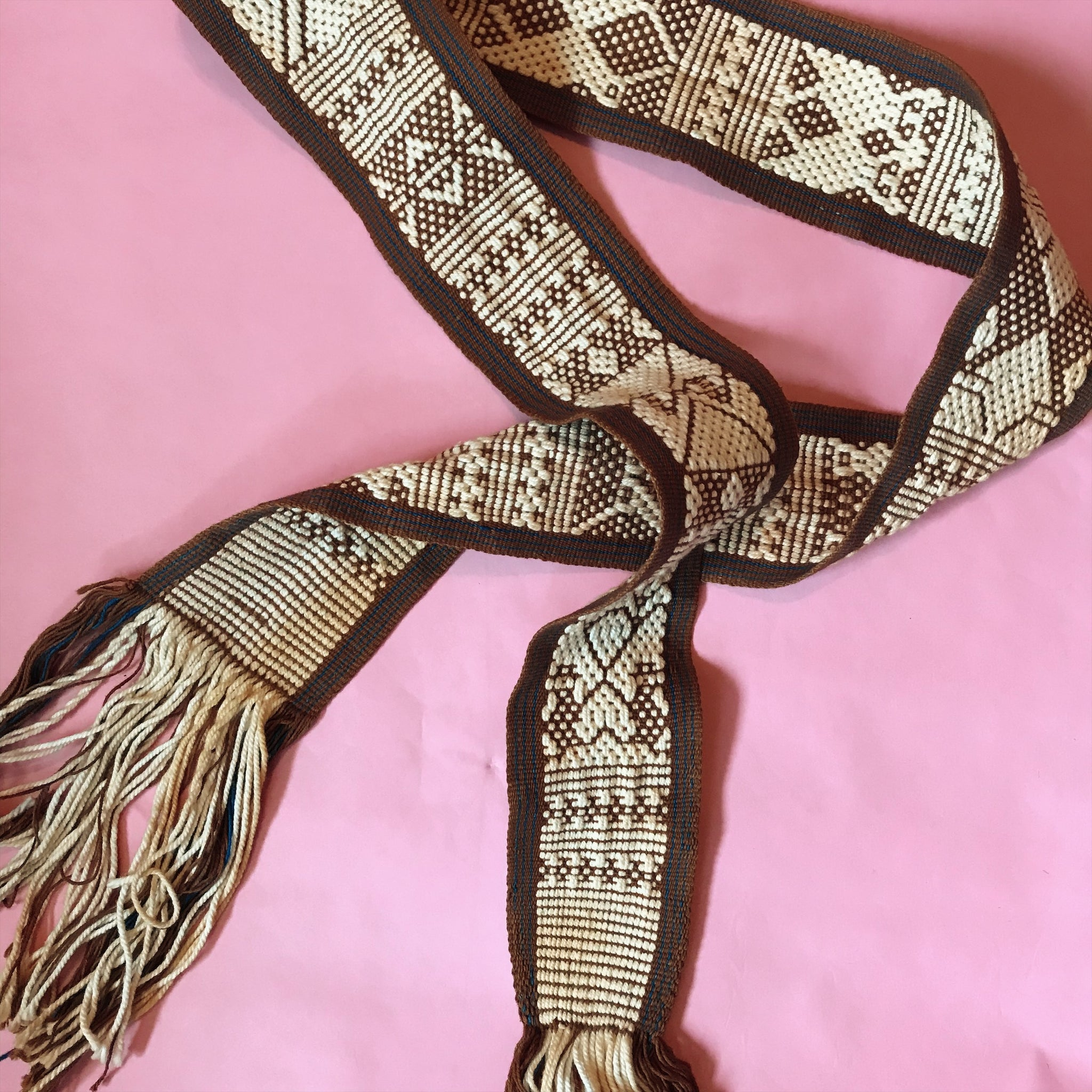 1970's Woven Brown Boho Vintage Belt with Fringe