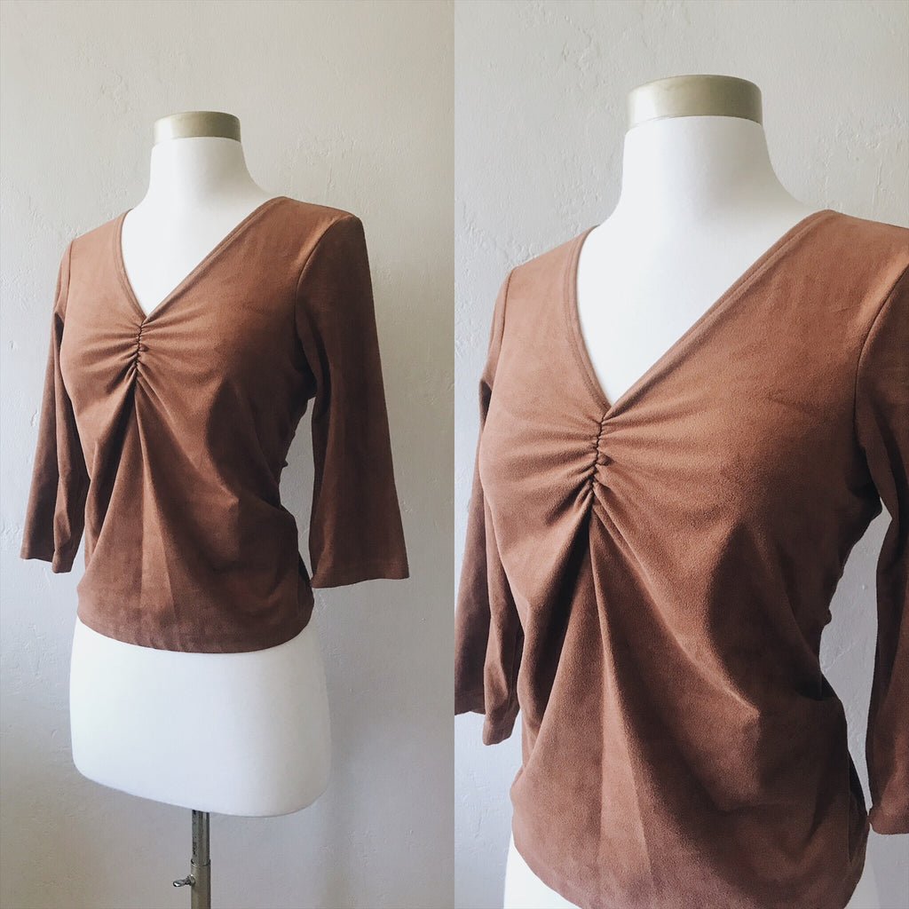 Brown Suede 3/4 Sleeve Blouse