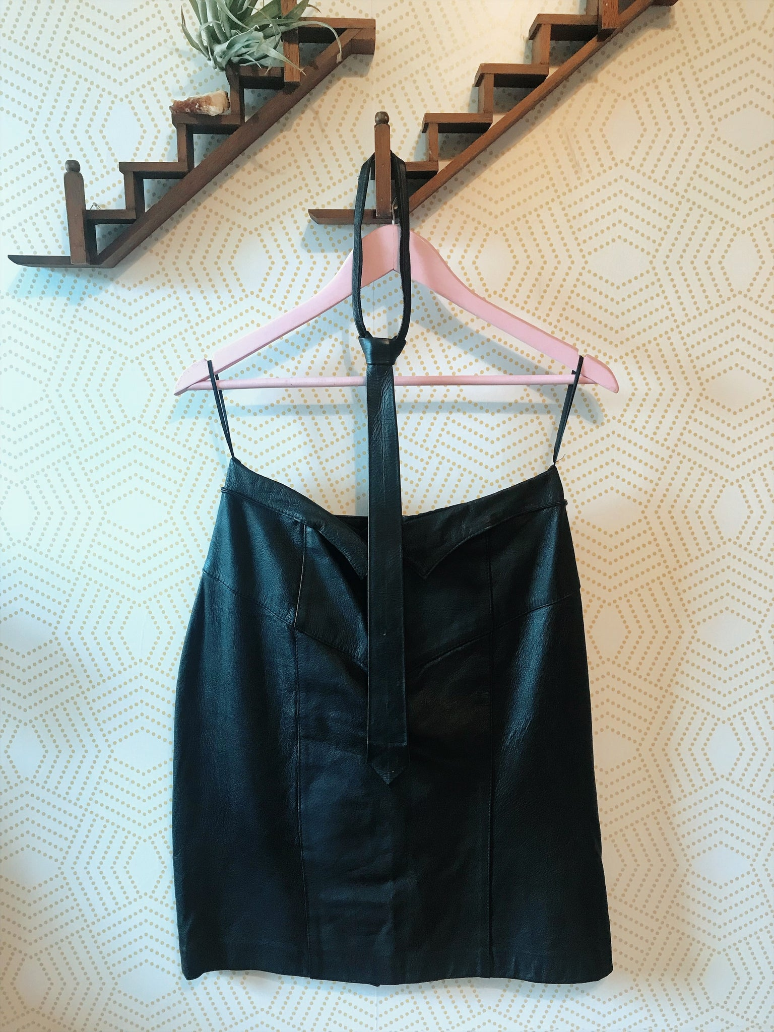 1980's Black leather pencil skirt and zip up tie