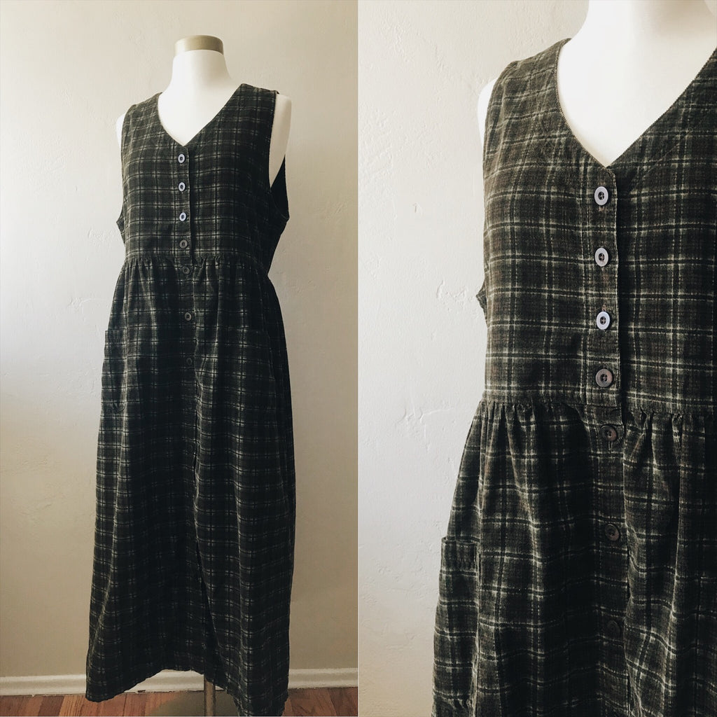 1990s Green and Brown Plaid Corduroy Sleeveless Dress