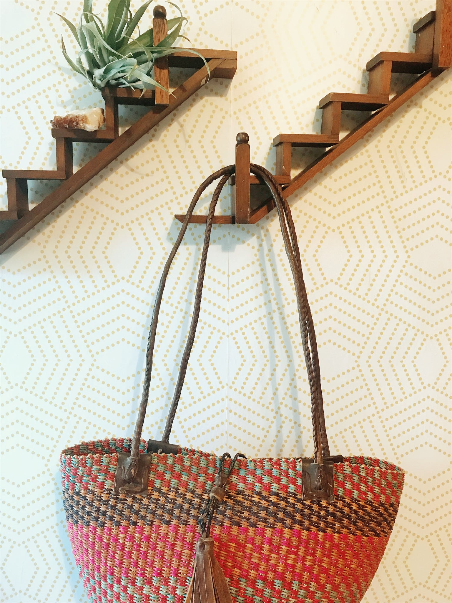 African Woven Fiber Bucket Bag with Leather Handles