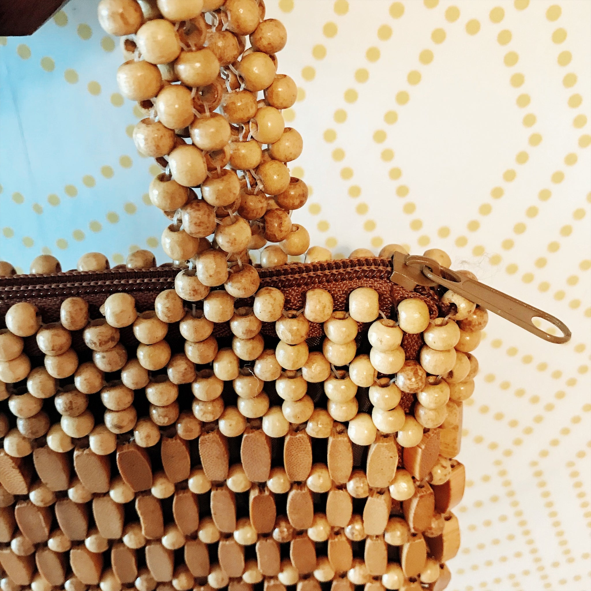 1970's Small Wood Beaded Handbag