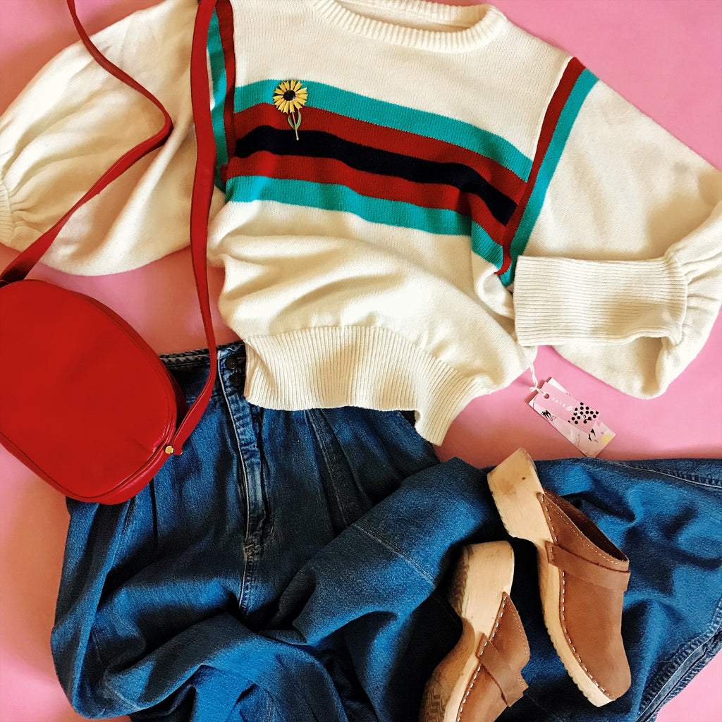1970s Striped Puff Sleeve Knit