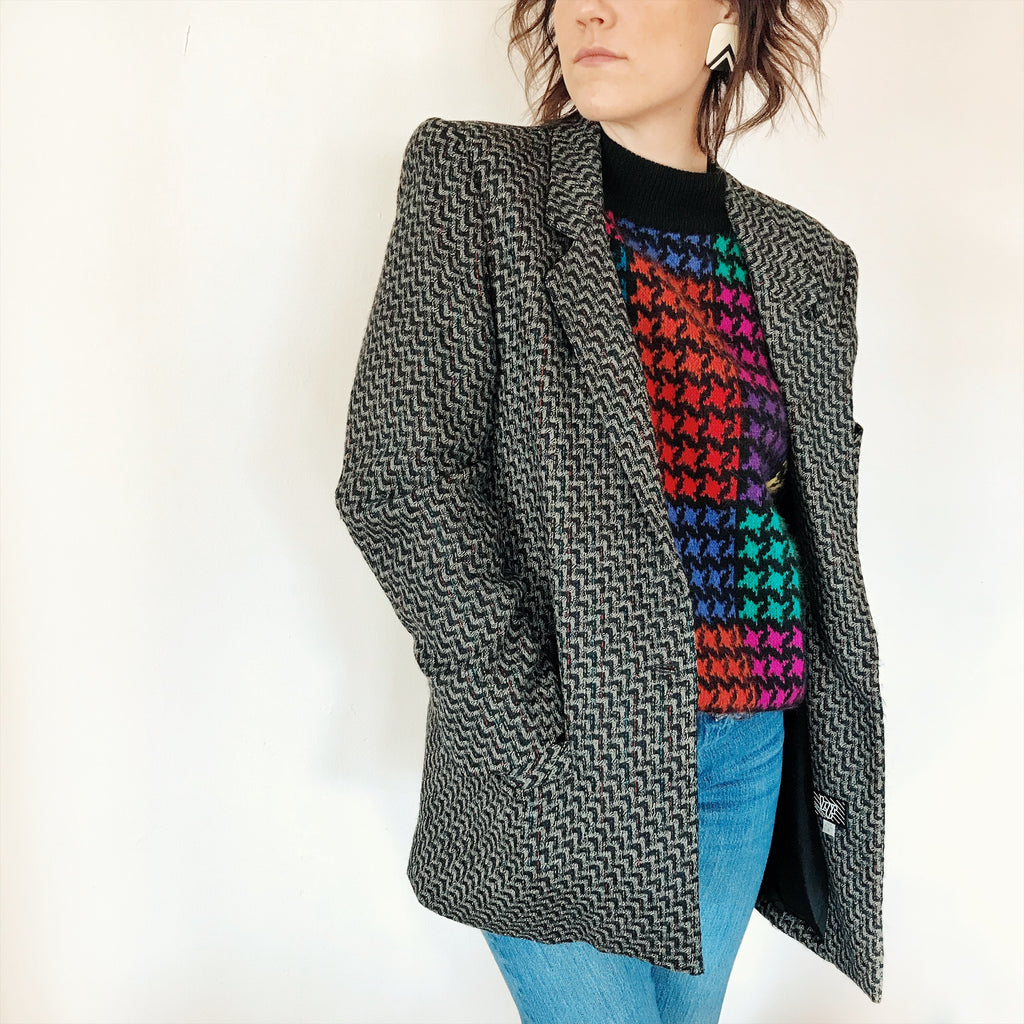 1990s Black with Rainbow Accents Tweed Blazer