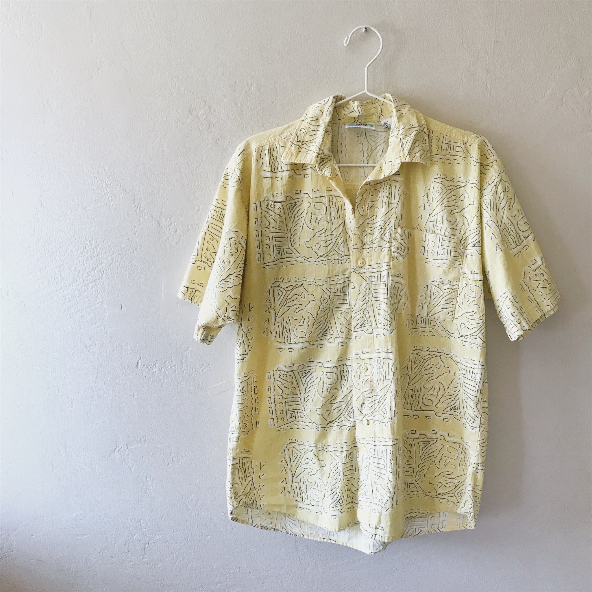 Yellow Beach Tribal Button Down