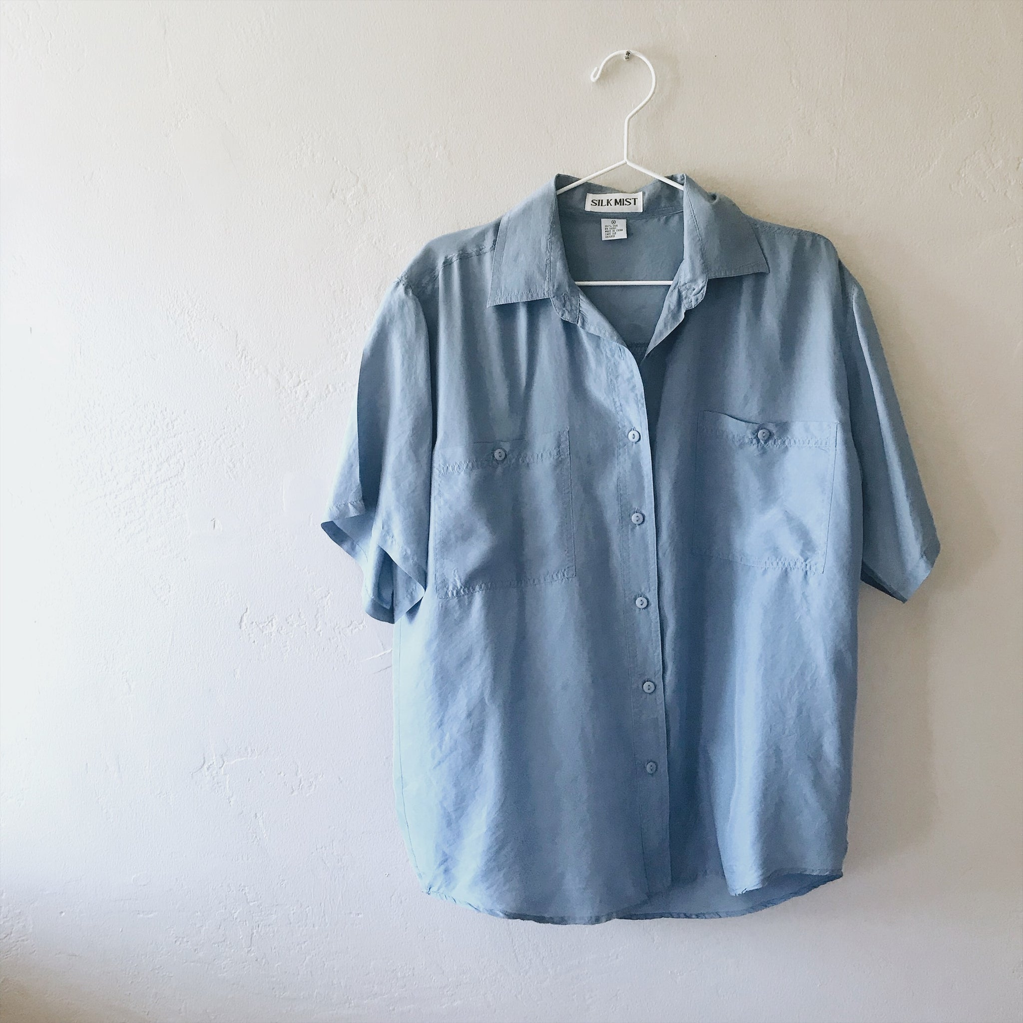 Powder Blue Silk Button Down